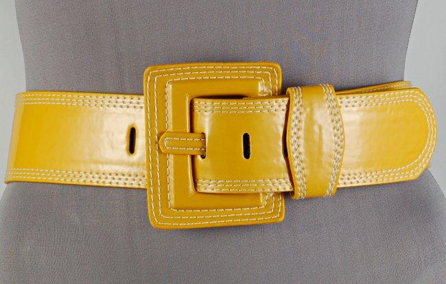 strait city image high gloss fashion belt yellow 70400