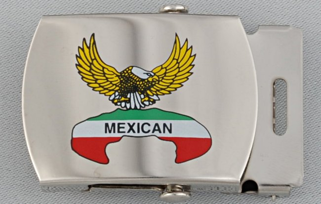 "... style buckle for 1-1/4"" web belts, eagle and Mexican flag colors decal"