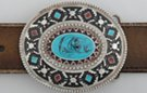 oval enameled pewter American southwest-style concho belt buckle